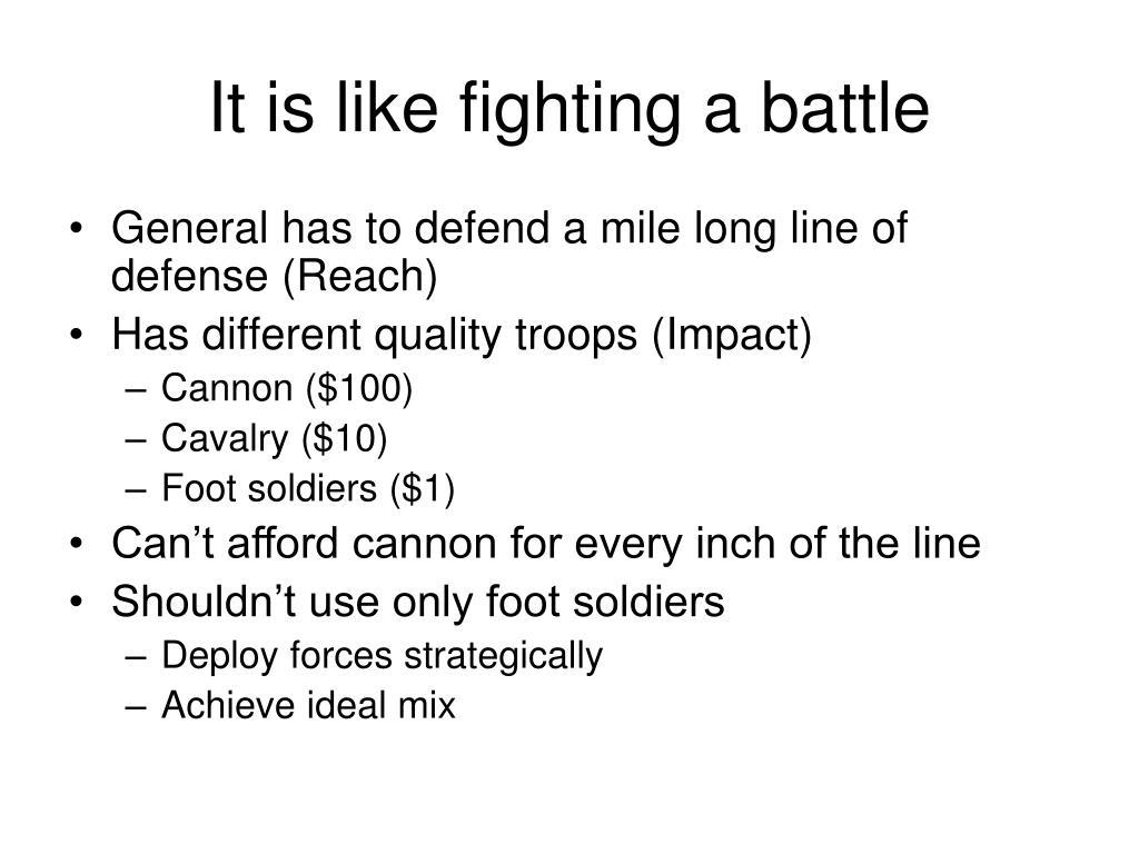 It is like fighting a battle