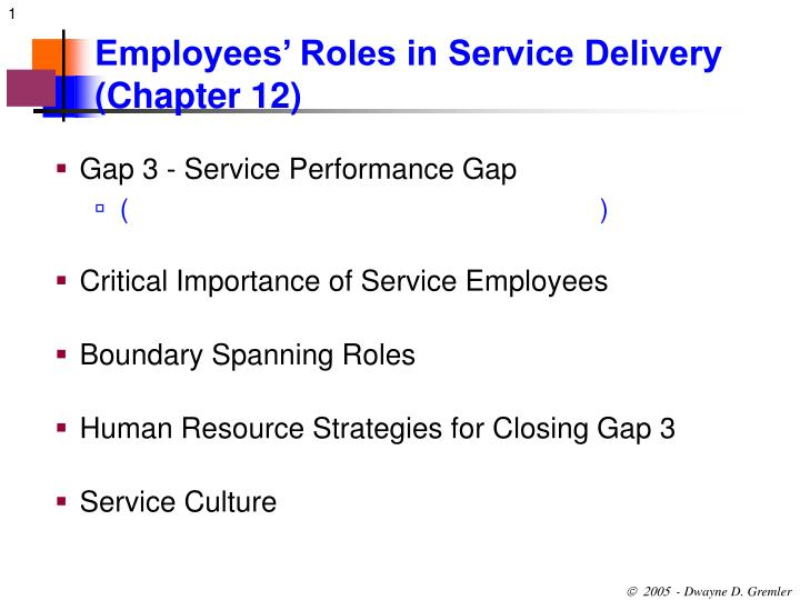 employees roles in service delivery chapter 12 n.