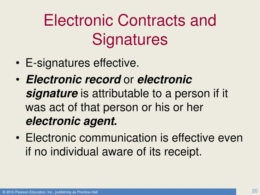Electronic Contracts and Signatures