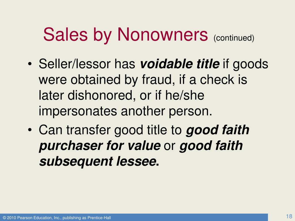 Sales by Nonowners