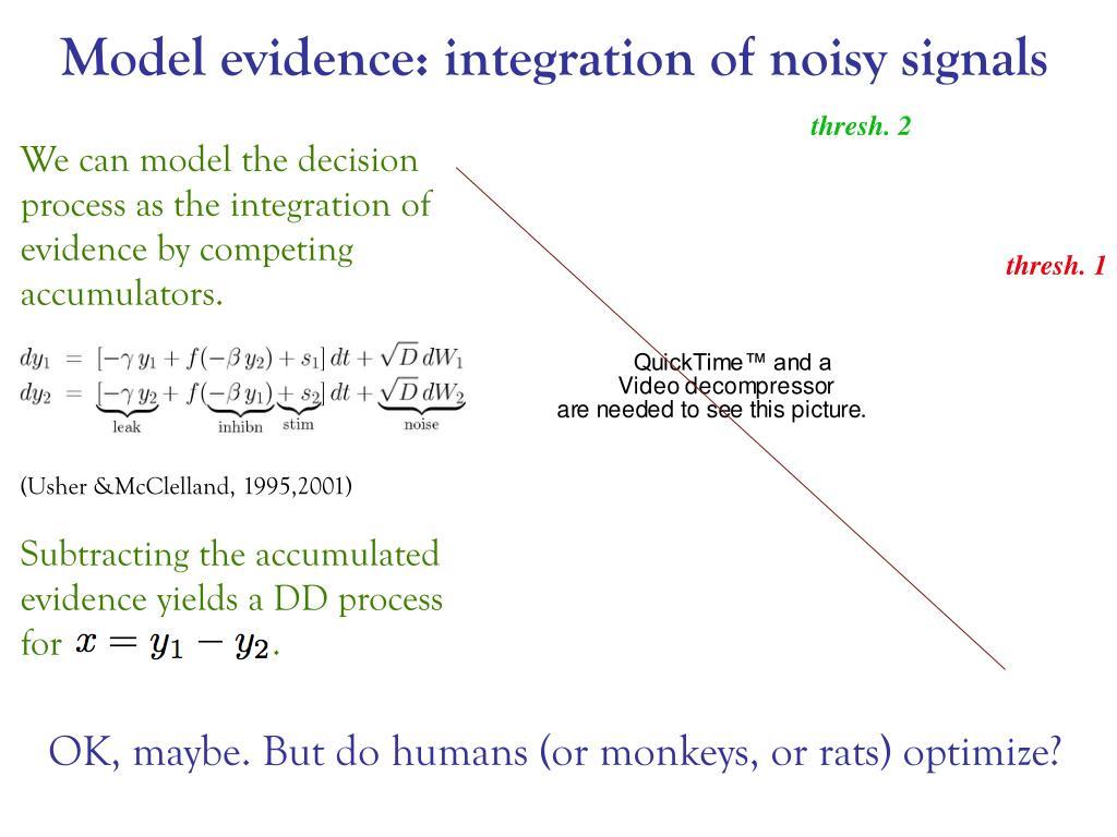 Model evidence: integration of noisy signals