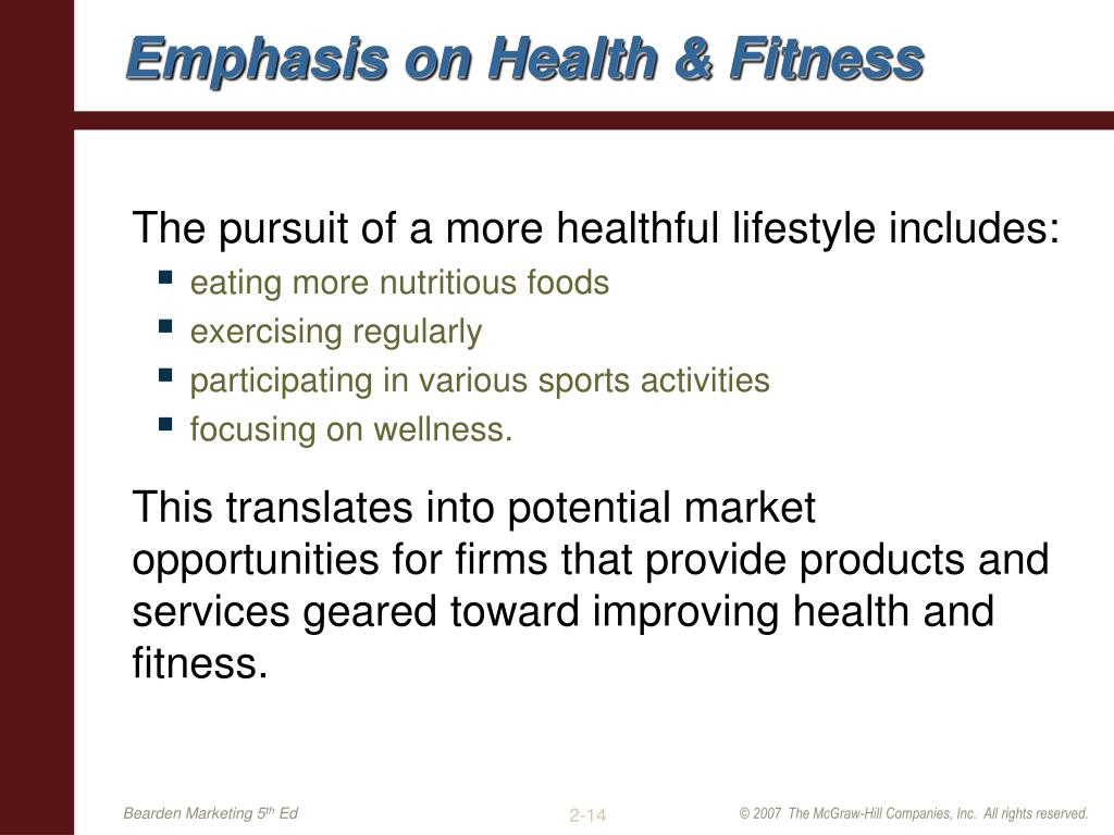 Emphasis on Health & Fitness