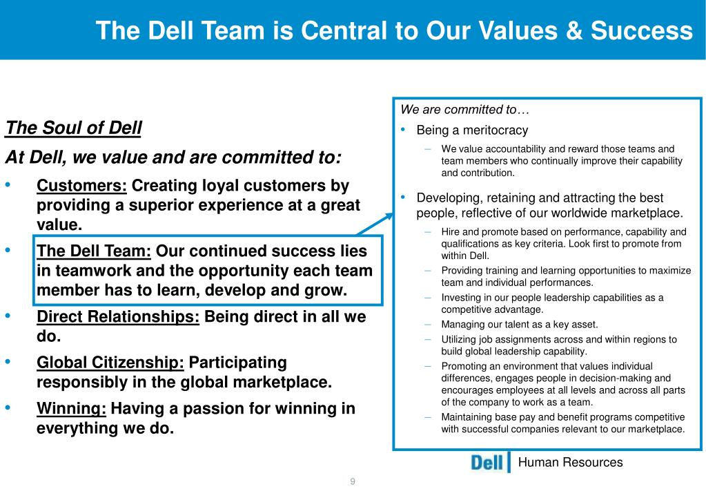 The Dell Team is Central to Our Values & Success