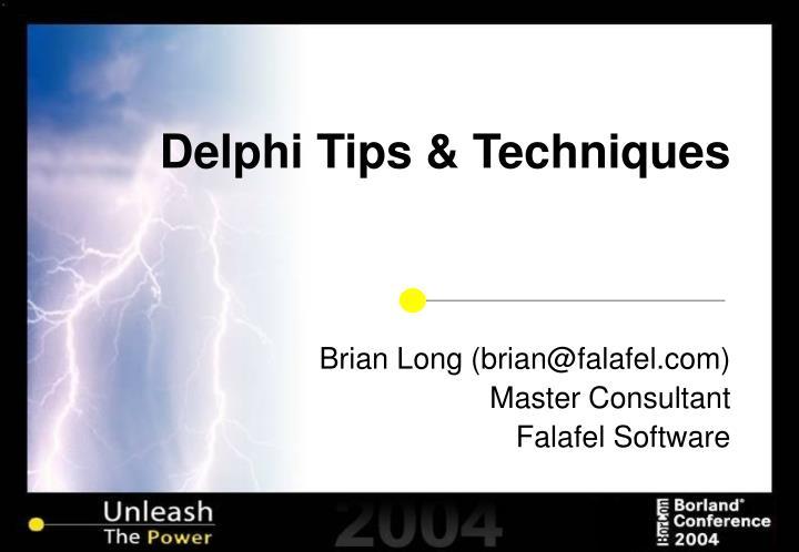 delphi tips techniques n.