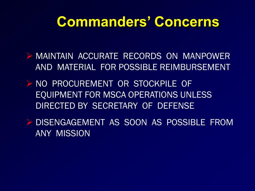 Commanders' Concerns
