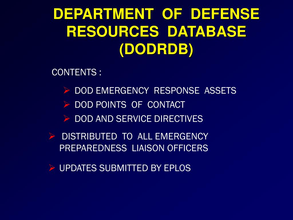 DEPARTMENT  OF  DEFENSE RESOURCES  DATABASE (DODRDB)