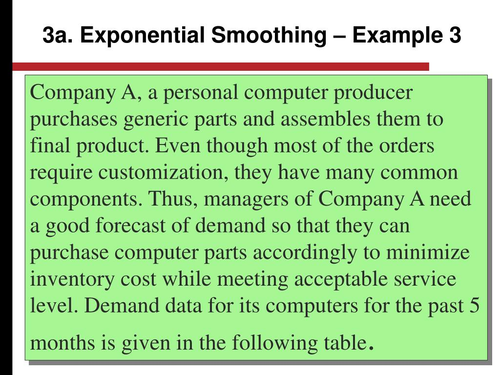 3a. Exponential Smoothing – Example 3