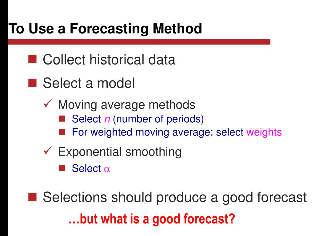 To Use a Forecasting Method