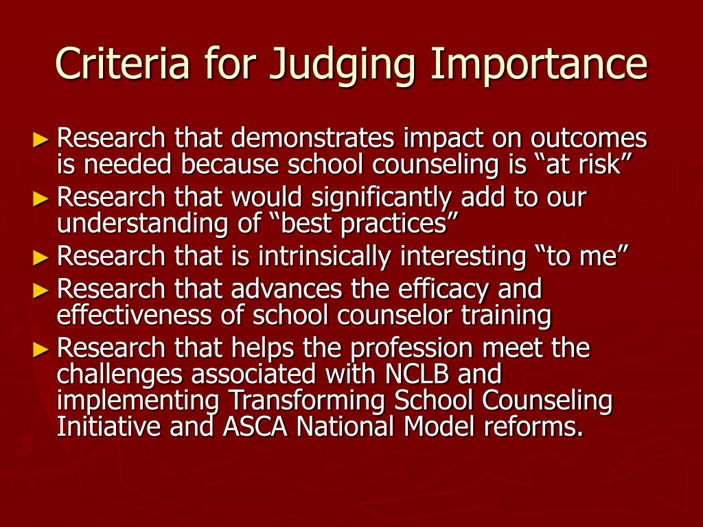 Criteria for Judging Importance
