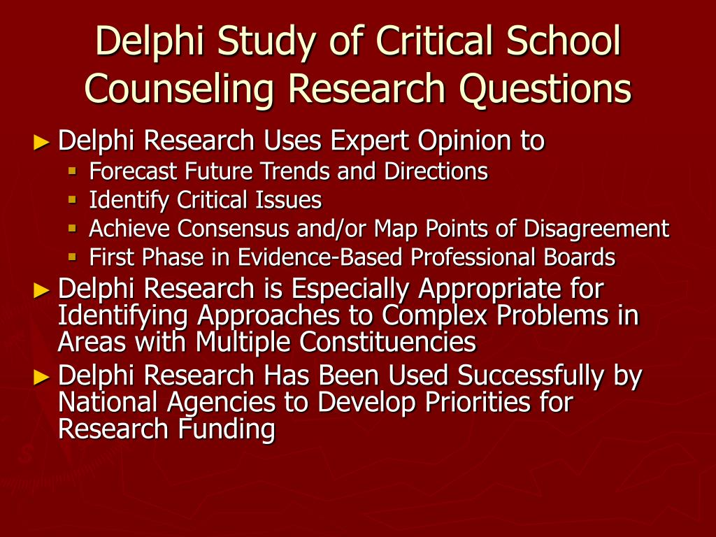 Delphi Study of Critical School Counseling Research Questions