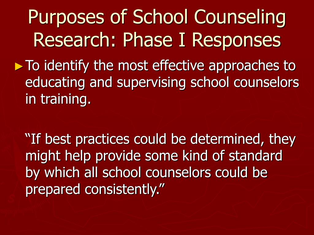 Purposes of School Counseling Research: Phase I Responses