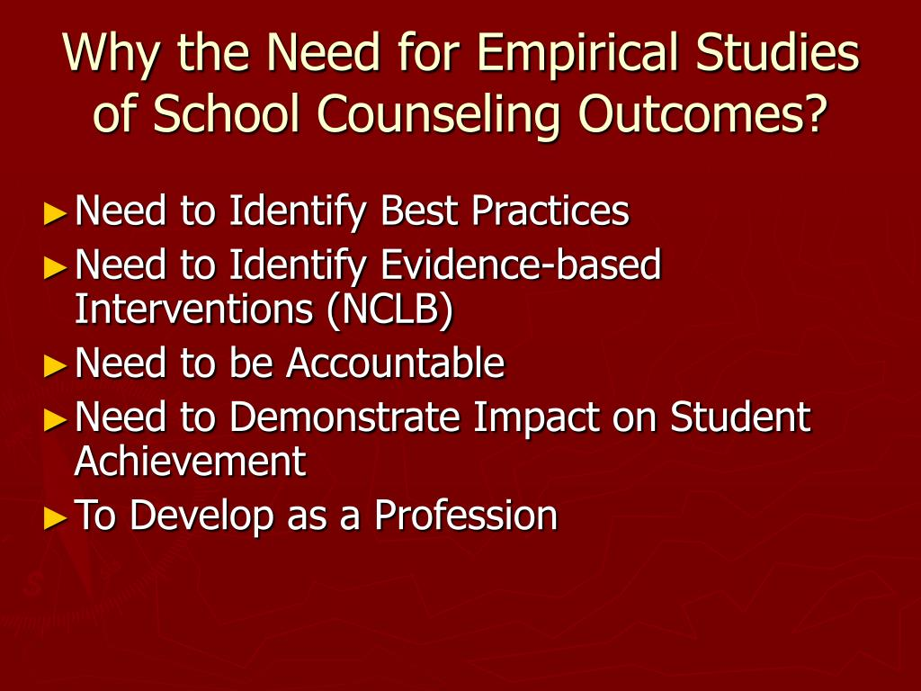 Why the Need for Empirical Studies of School Counseling Outcomes?
