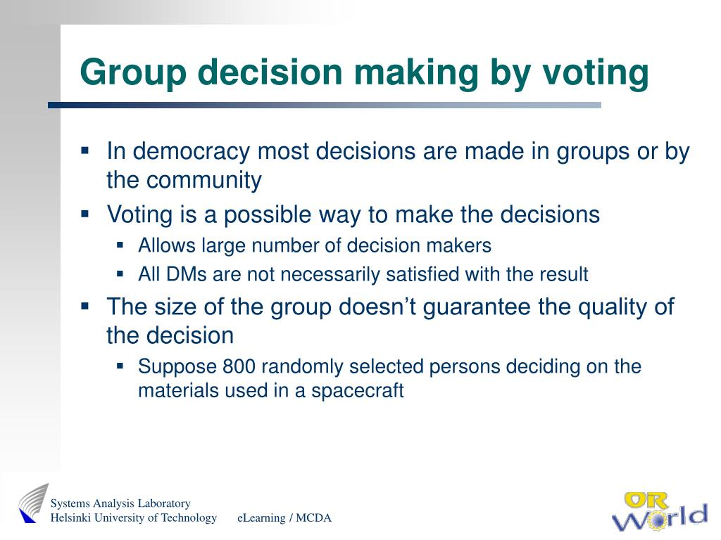 Group decision making by voting