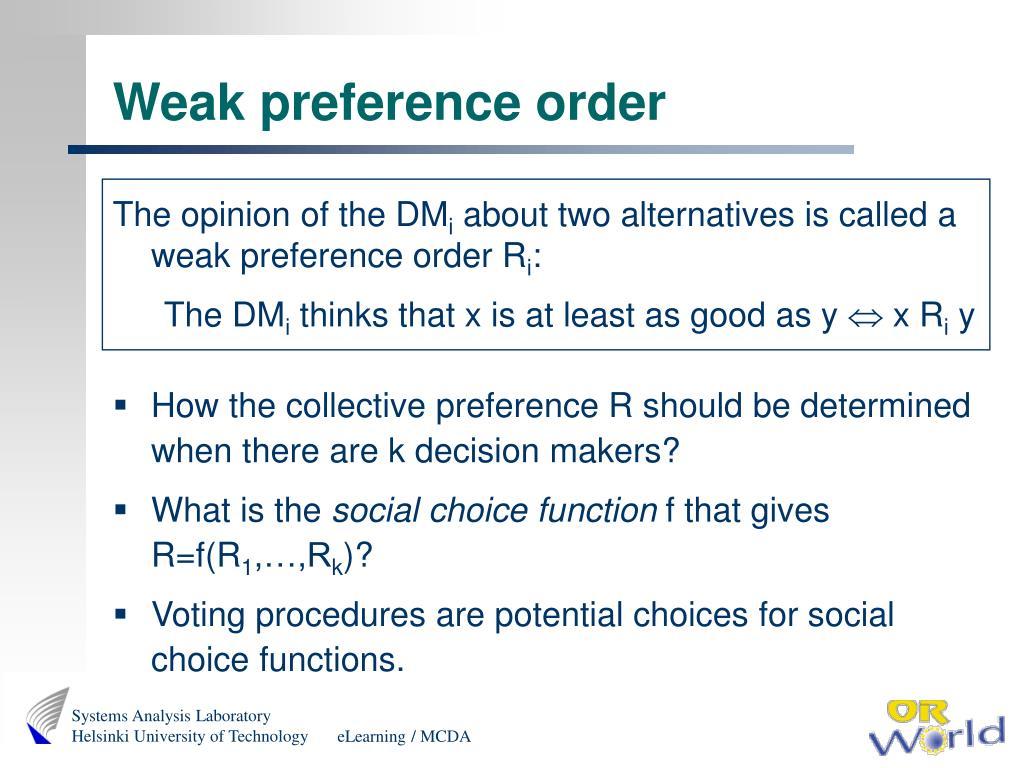 Weak preference order