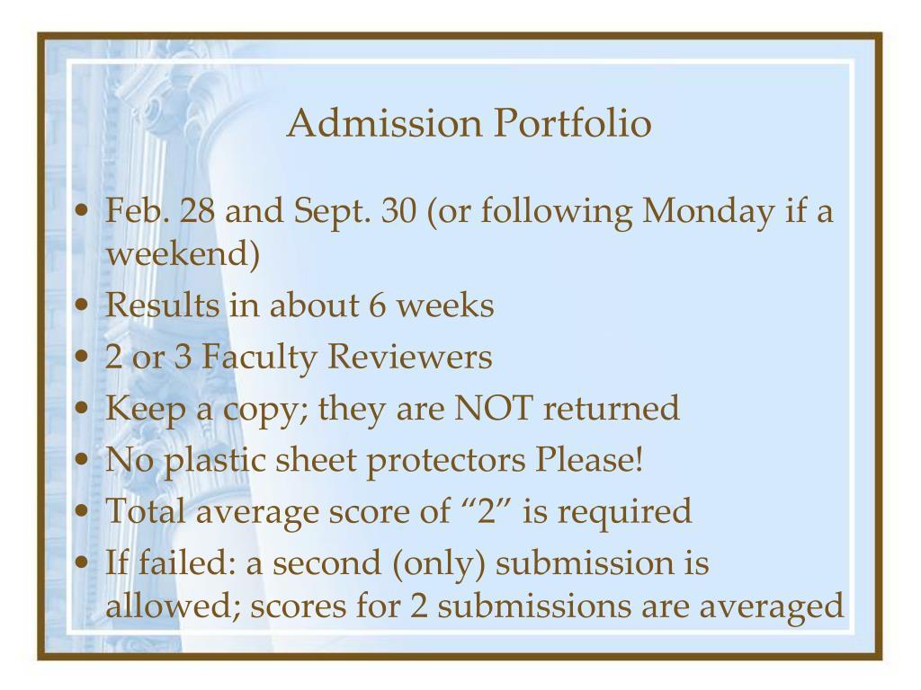 Admission Portfolio