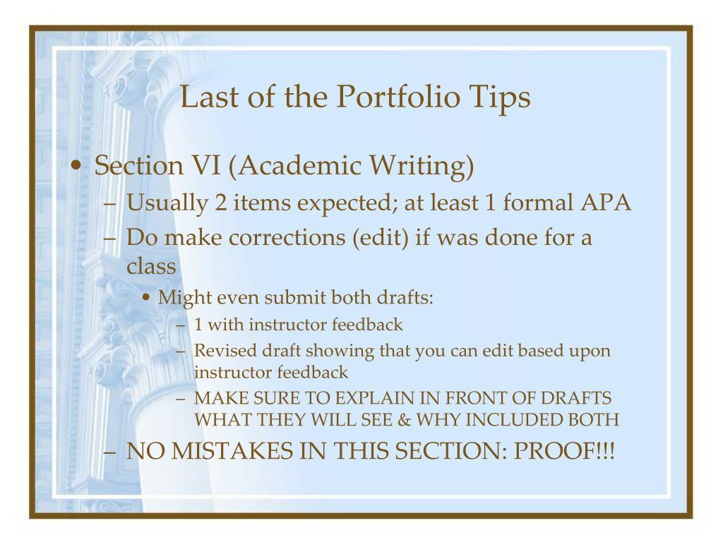 Last of the Portfolio Tips