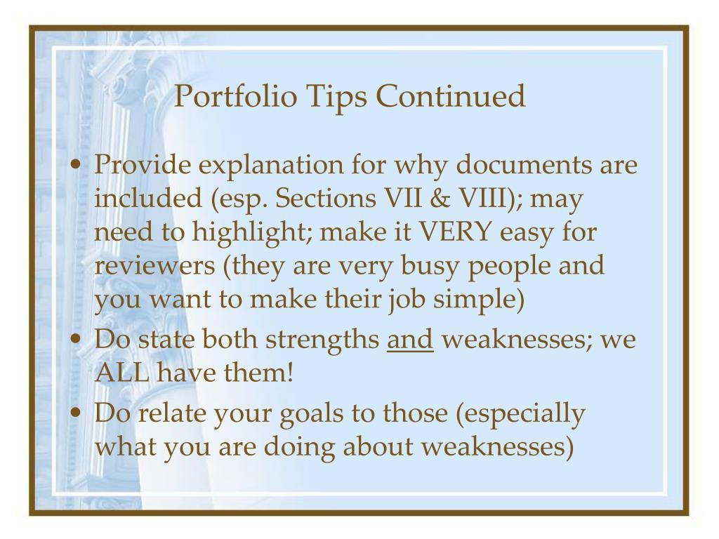 Portfolio Tips Continued