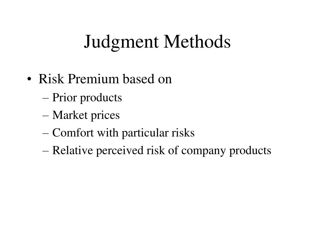 Judgment Methods