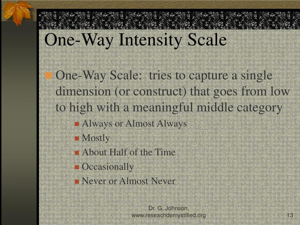 One-Way Intensity Scale