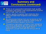 summary and conclusions continued