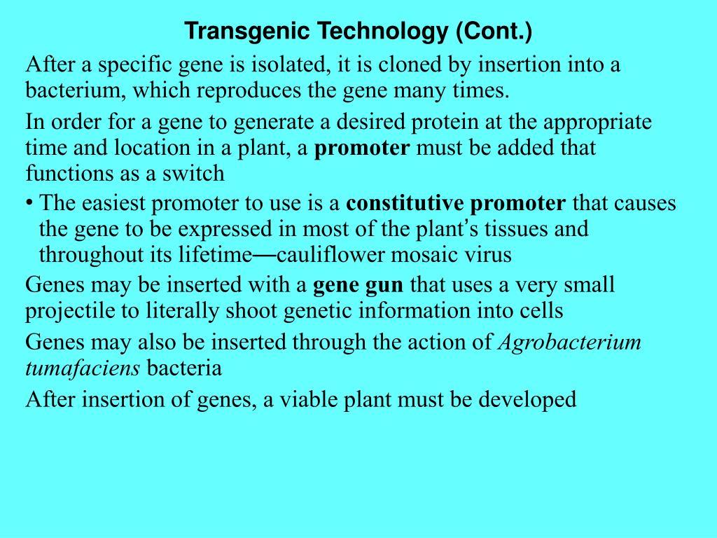 Transgenic Technology (Cont.)