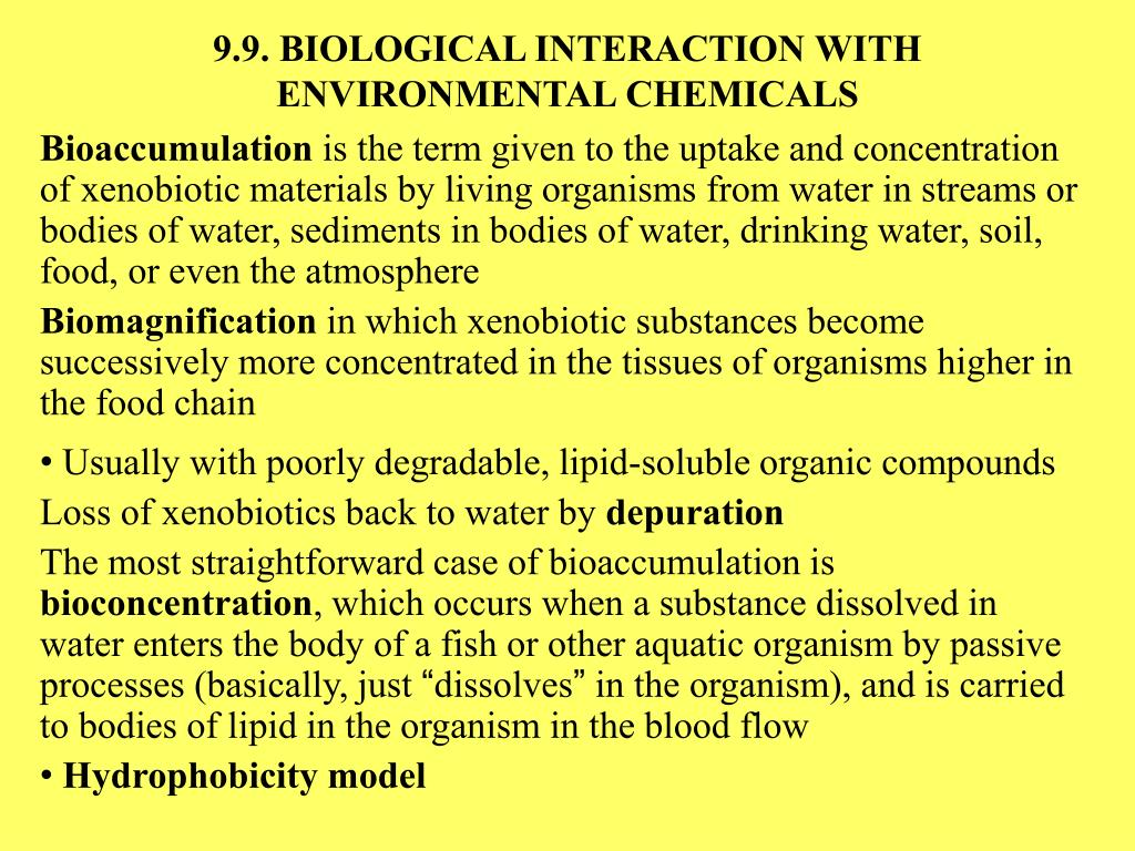 9.9. BIOLOGICAL INTERACTION WITH ENVIRONMENTAL CHEMICALS