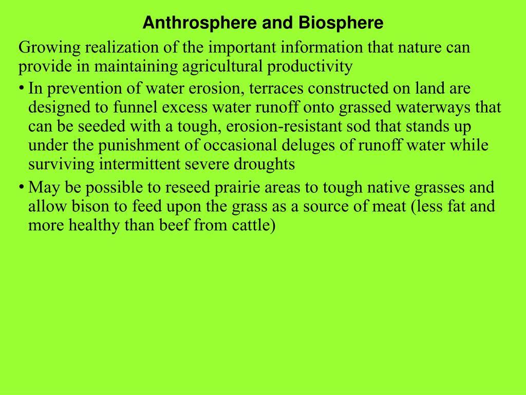 Anthrosphere and Biosphere