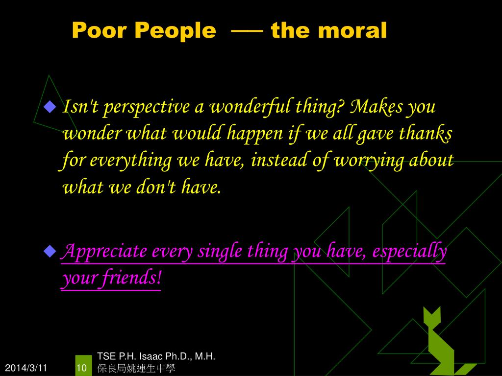 Poor People  ── the moral