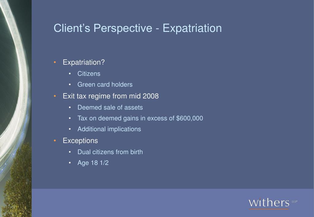Client's Perspective - Expatriation