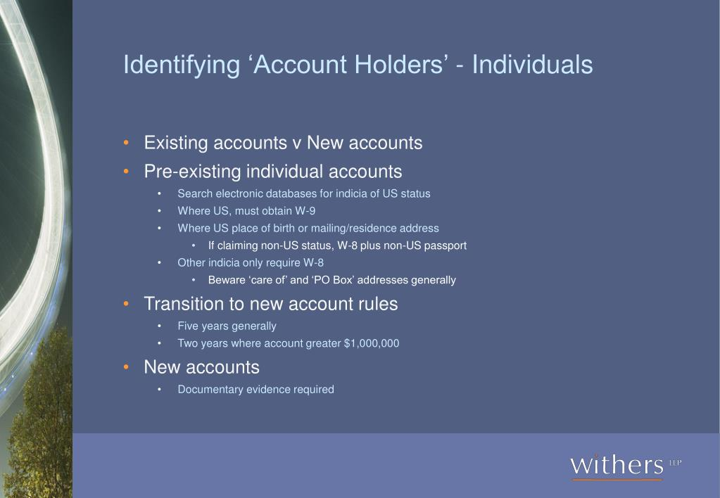 Identifying 'Account Holders' - Individuals