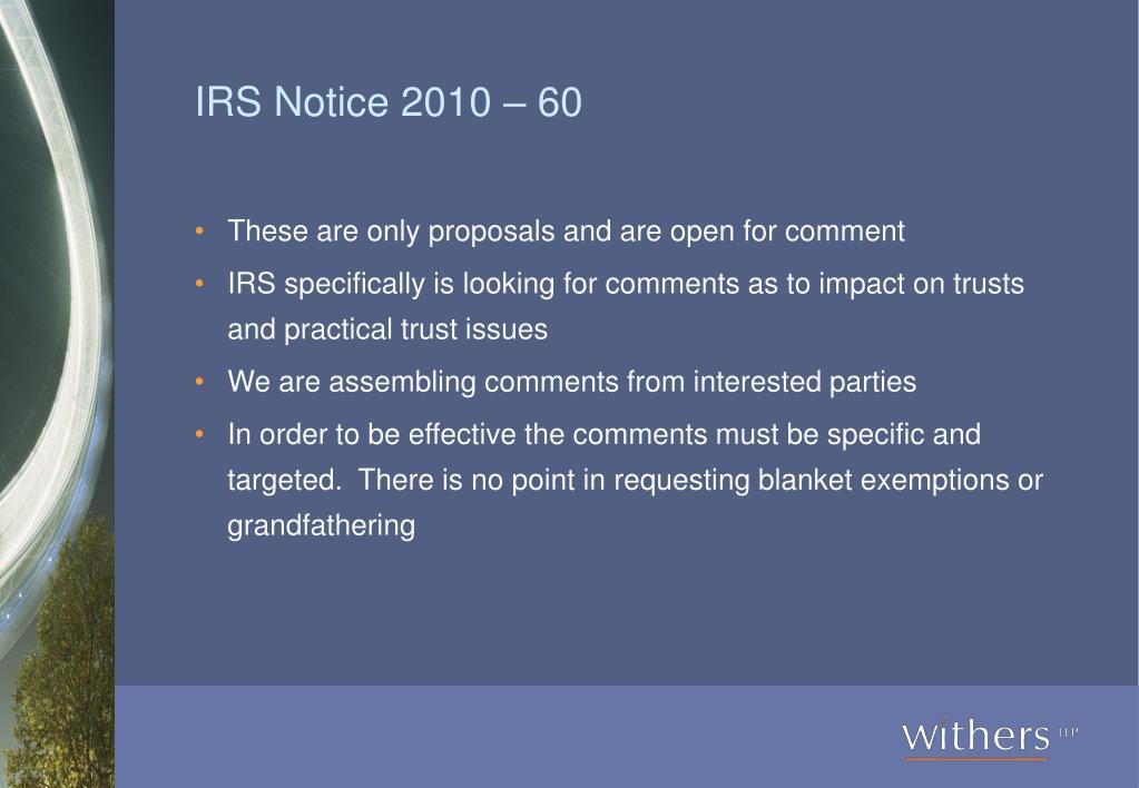 IRS Notice 2010 – 60