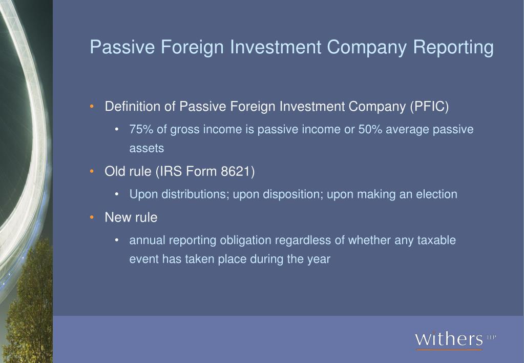 Passive Foreign Investment Company Reporting