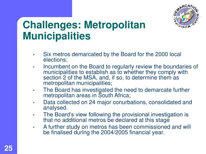 Challenges: Metropolitan Municipalities