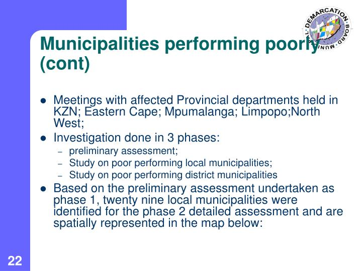 Municipalities performing poorly (cont)