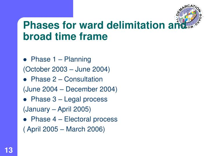 Phases for ward delimitation and broad time frame