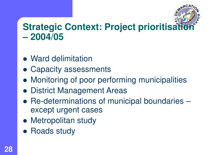 Strategic Context: Project prioritisation  – 2004/05