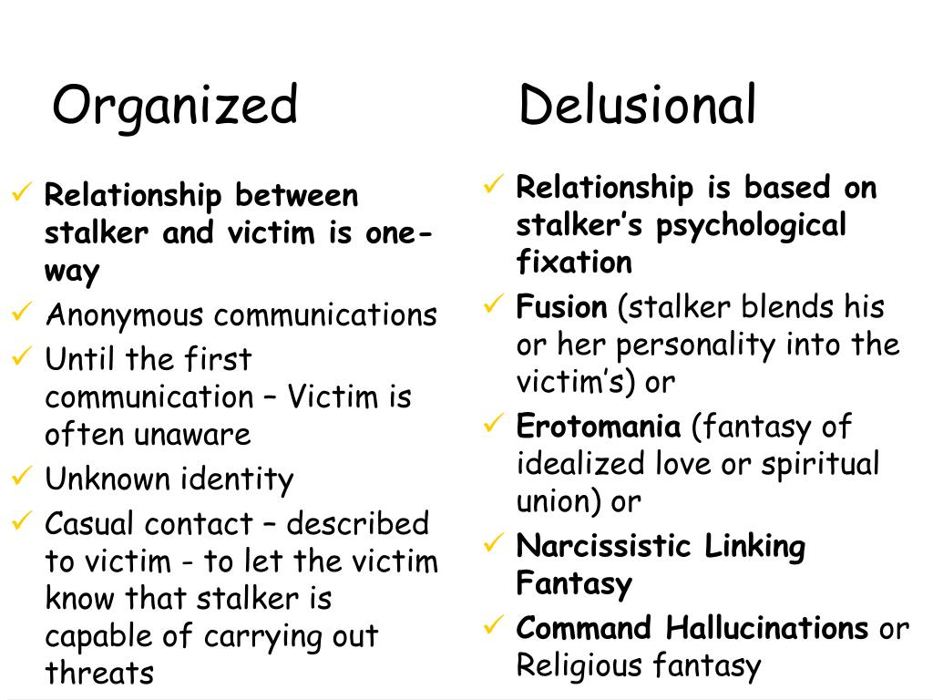 Relationship between stalker and victim is one-way