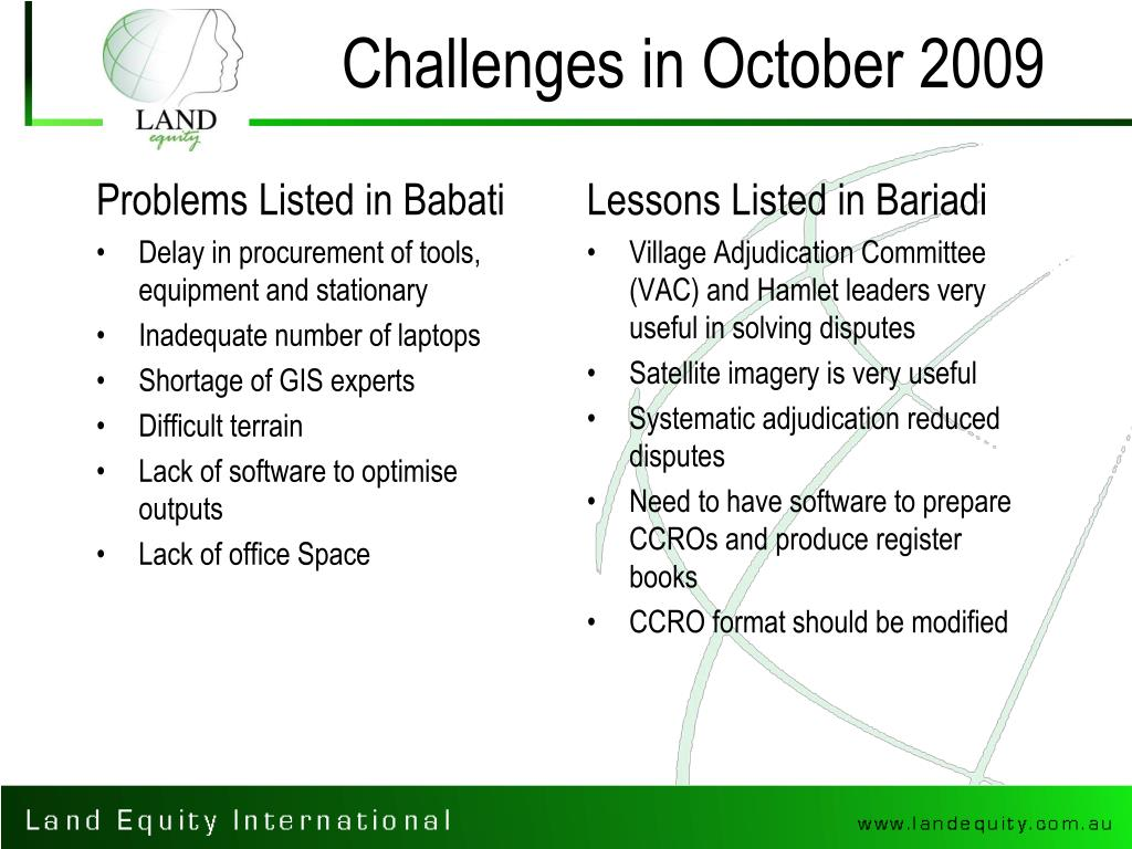 Challenges in October 2009
