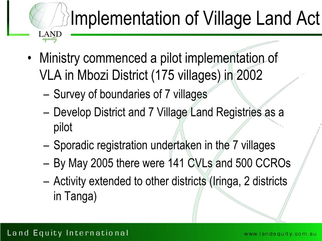 Implementation of Village Land Act