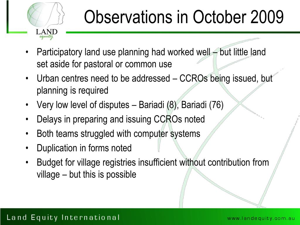 Observations in October 2009