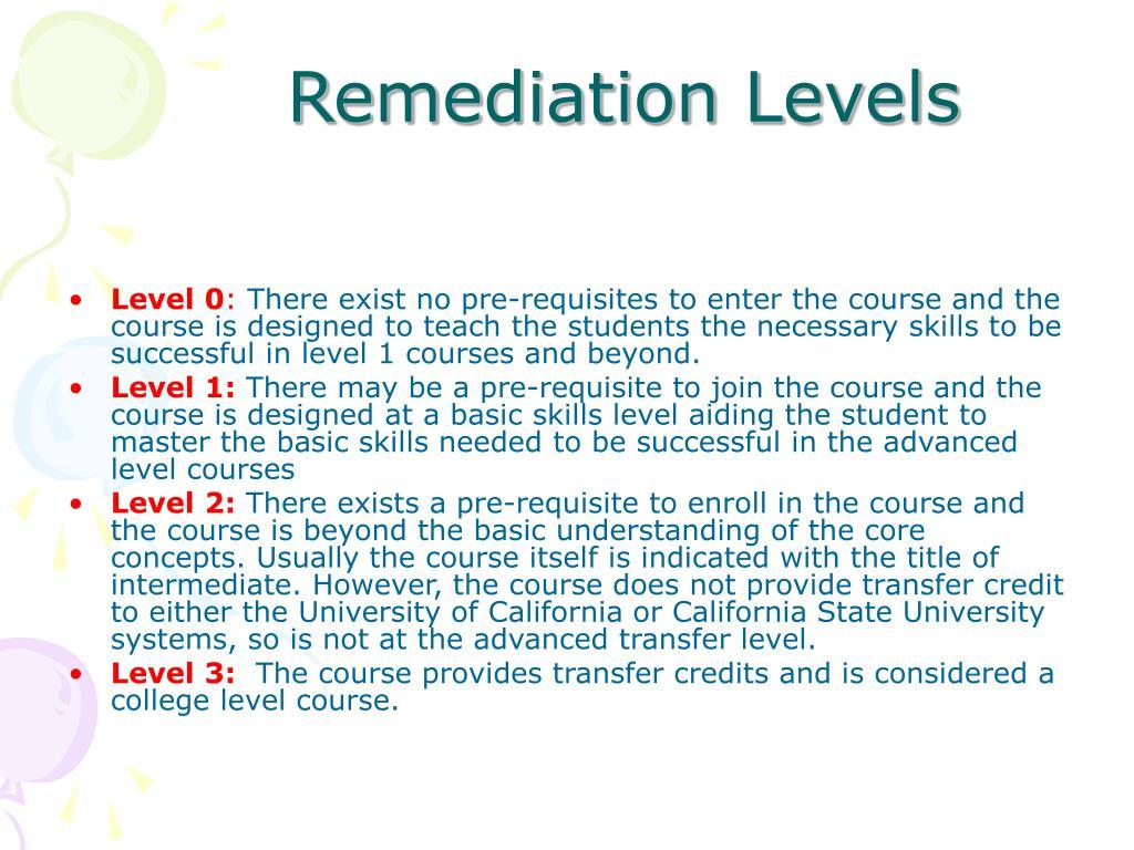 Remediation Levels