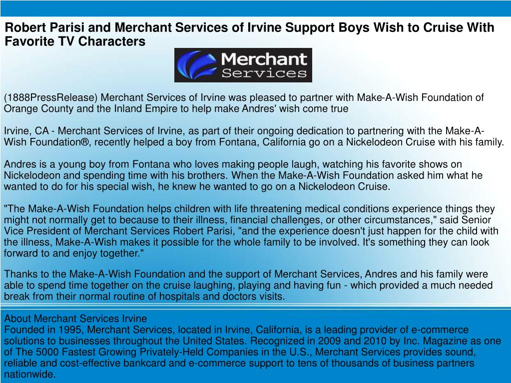Robert Parisi and Merchant Services of Irvine Support Boys Wish to Cruise With Favorite TV Characters