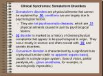 clinical syndromes somatoform disorders