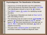 psychodiagnosis the classification of disorders
