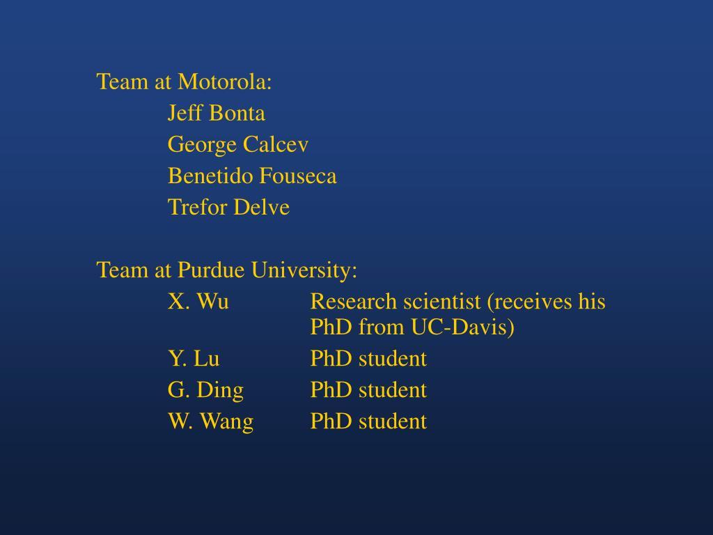 Team at Motorola:
