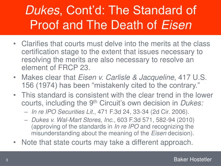 Dukes cont d the standard of proof and the death of eisen
