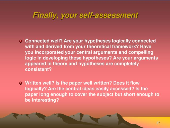 Finally, your self-assessment