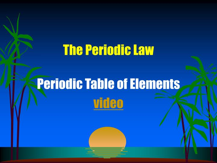 the periodic law n.
