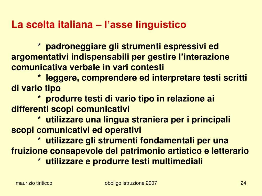 La scelta italiana – l'asse linguistico