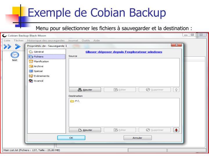 Exemple de Cobian Backup